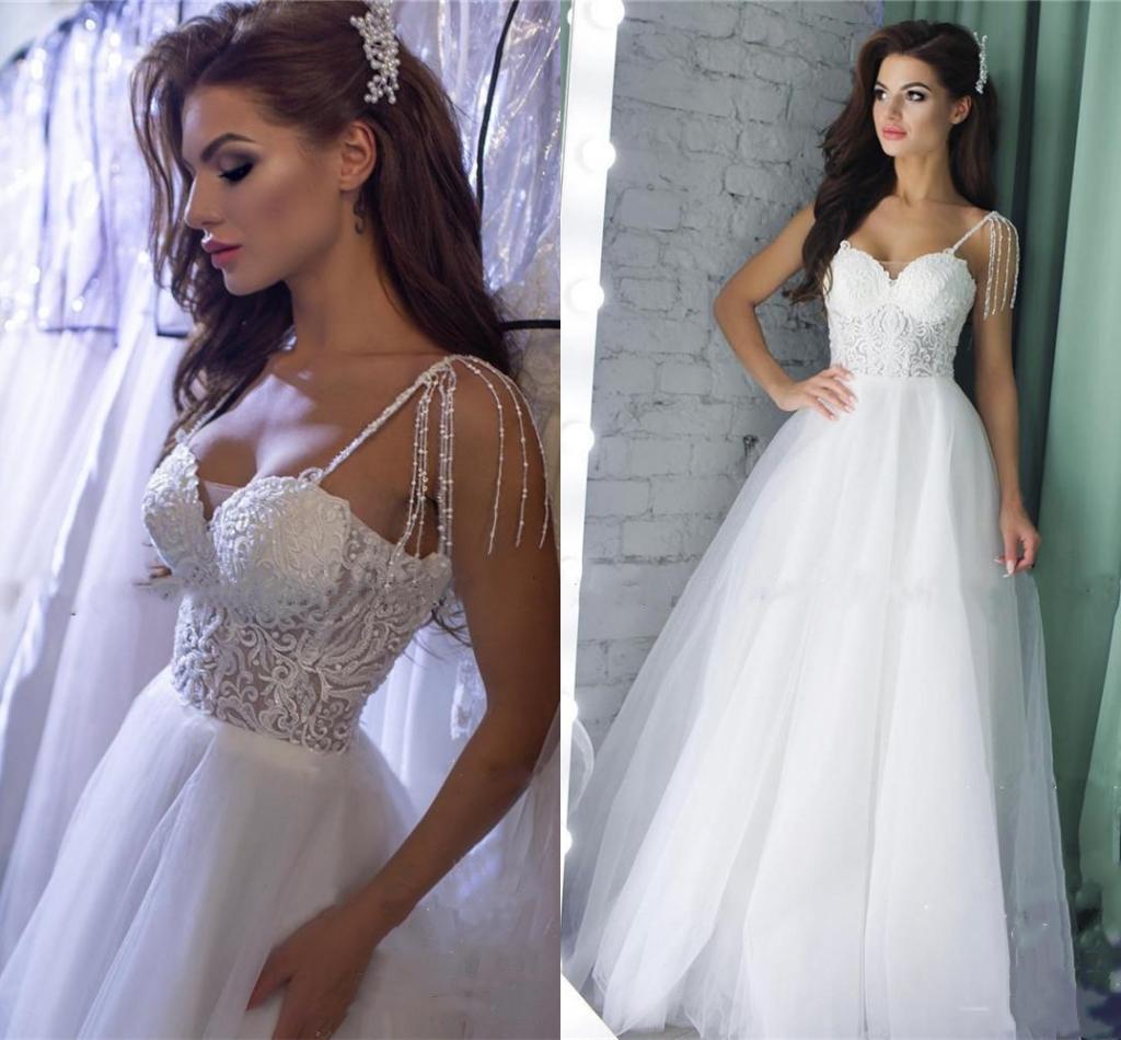 Summer Wedding Dresses for Women Spaghetti Sweep Train A Line Lace Beading Country Garden Bridal Gowns vestidos de novia Plus Size