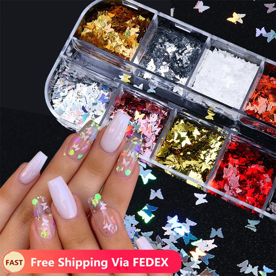 12 Grid/Set Holographic Nail Glitter Sequins Sparkly 3D Thin Butterfly Flakes Polish Decor for Nail Art Accessories