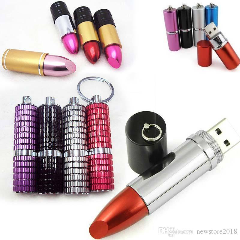 wholesale sexy Lipstick usb flash drive pendrive 8gb 16gb 32gb 64gb external storage micro usb memory stick for lady gift