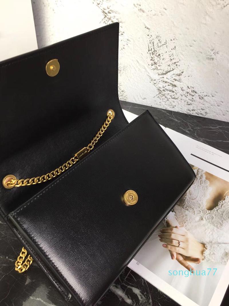 Tasarımcı-Altın Gümüş zincir sığır derisi deri Çanta kadınlar çanta Gerçek Deri Crossbody çanta çevir kapak metal Omuz Çantaları Çanta
