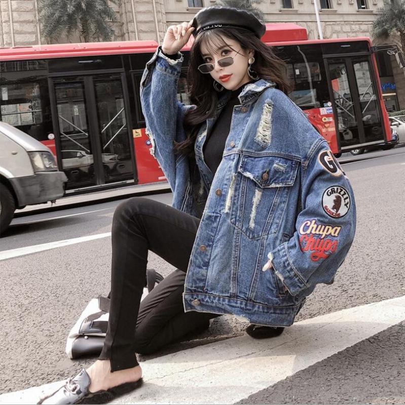 Женские куртки 2021 BF Harajuk Свободная джинсовая куртка Женщины Вышивка Джинсы Джинсы Пальто Хип-Хмеля Hole Одиночная погружная