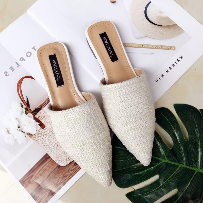 Verano Sólidos de Nuevo Toe-cubierta del deslizador de las mujeres de moda en punta tejido transpirable deslizadores perezosos sandalias planas de las mujeres Zapatos Mule Diapositivas