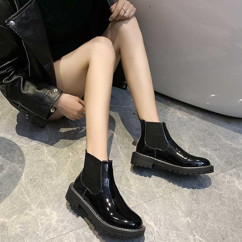 2019 kış The New Kadın Kadın Bayanlar Kadın Deri Çizme Ayakkabı Platformu Fermuar Binme Equestr Botaş Mujer U11-52