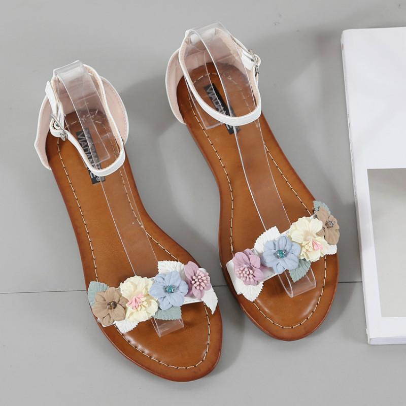 2020 Douce Fleur dames plat Sandales Plus Size Plage respirante PU cuir femmes Chaussures d'été Couverture Talon Calzado Mujer