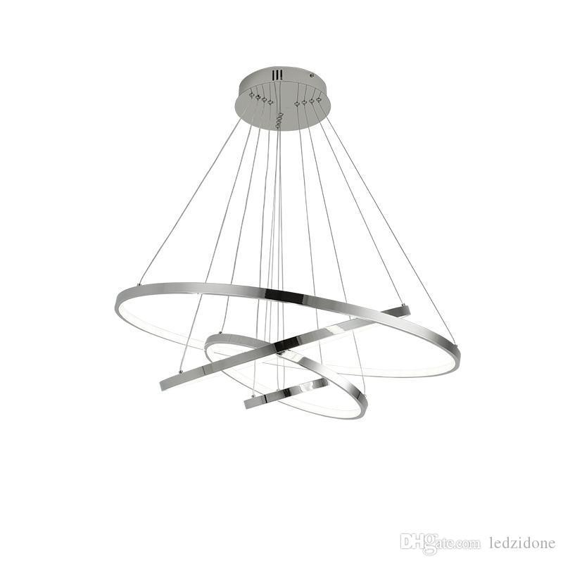 Современного Chrome светодиодного свет подвеска алюминиевого кольцо люстра освещение для столовой гостиной домашнего творческих подвесного светильника