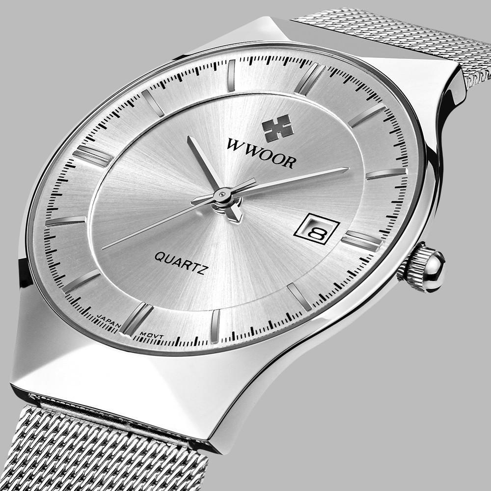 Top Brand Luxury WWOOR Мужские часы из нержавеющей стали Band Аналоговое дисплей Кварцевые наручные часы Ultra Thin набор моды платье часы LY191226