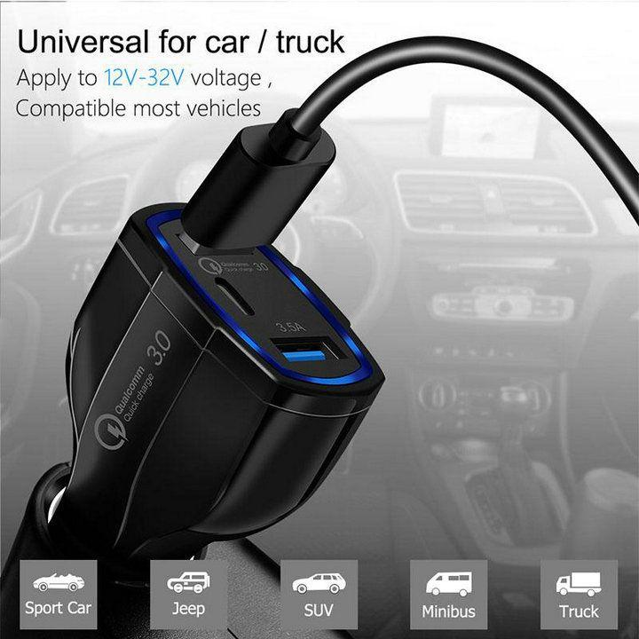شاحن سيارة QC3.0 المزدوجة USB 2 ميناء شاحن مزدوج USB التوصيل الشحن العالمي محول نوع C سريع شاحن سريع شحن الهاتف المحمول