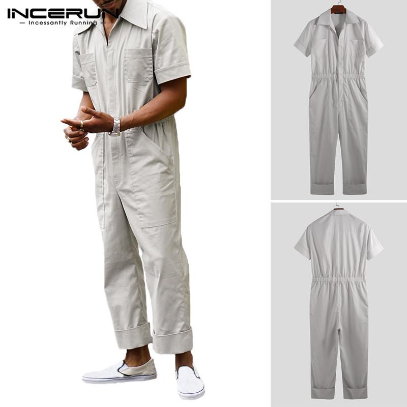 INCERUN 2019 Moda Hombre Mono Trajes de carga Bolsillos Shortsleeve pantalones sólido suelto refrescan Streetwear Casual mamelucos Hombres S-5XL