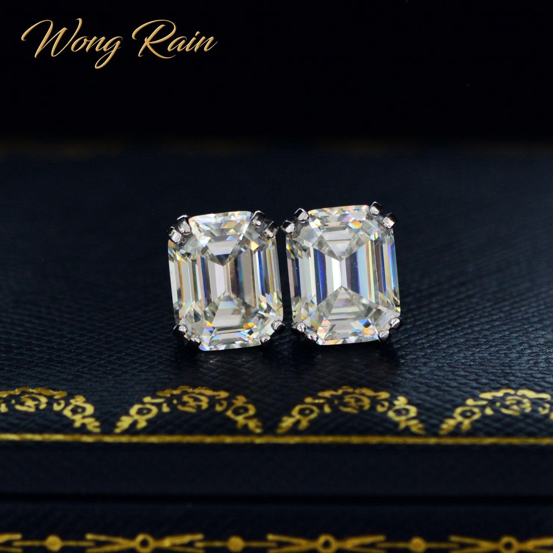 Wong Yağmur Klasik 925 Gümüş düzenlendi Moisanit Taş Diamonds Küpeler Kulak Çıtçıt Düğün Güzel Takı Toptan CX200628