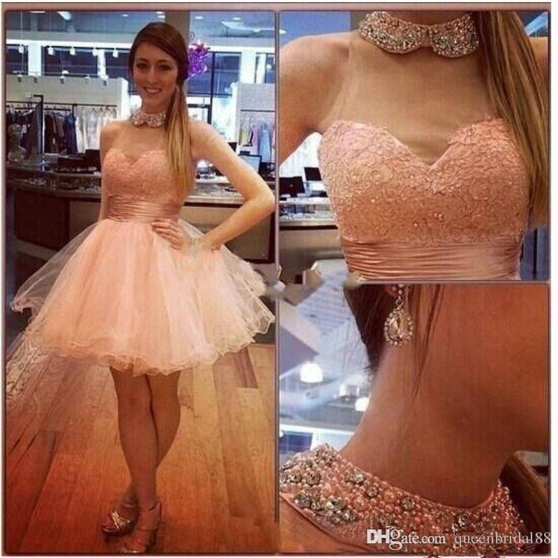 Hot Sale Short Puffy Tulle Homecoming Dresses with Beaded High Collar Sleeveless Graduation Party Gowns Cheap Dress for Bride