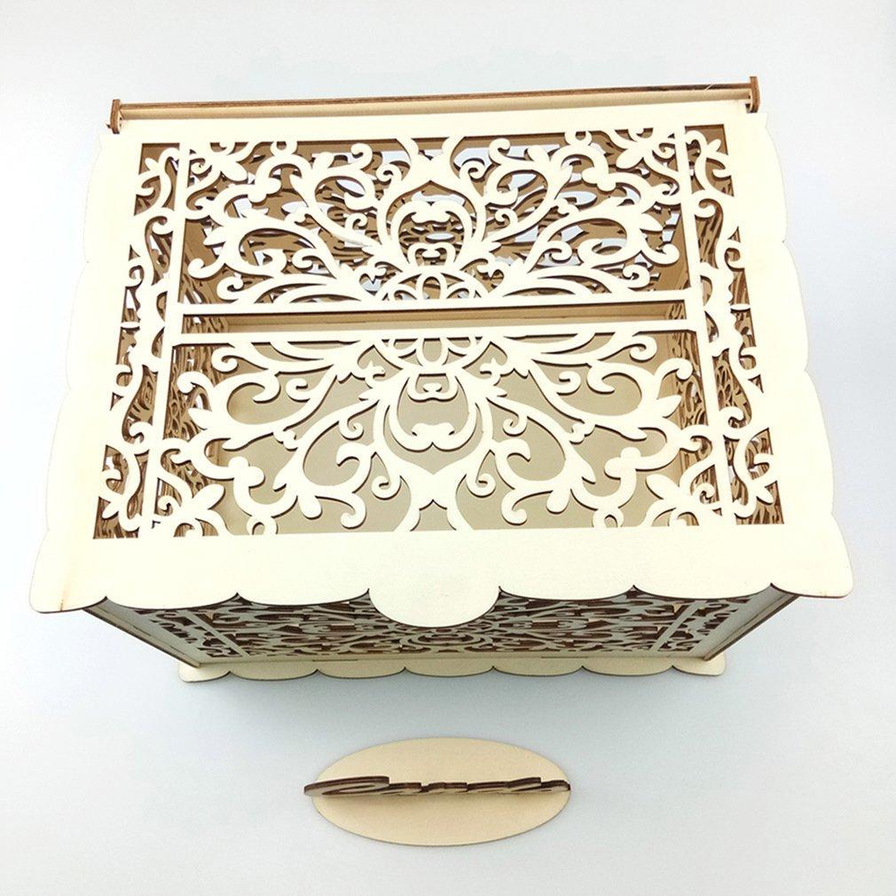 Carte de mariage rustique diy boîte avec la serrure et la carte Signez carte-cadeau en bois Tirelire Boîte de fête d'anniversaire Graduation Décorations