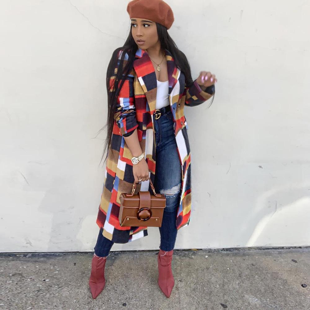 نسائية عادية طويل أزياء كلاسيكية منقوشة معطف الصوف المرأة الأخلاط