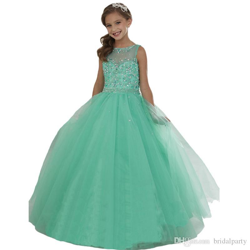Vestido de fiesta Vestido de fiesta para niñas con escarpado con lentejuelas y abalorios Una línea Vestido de niñas con flor barato Vestidos de primera comunión