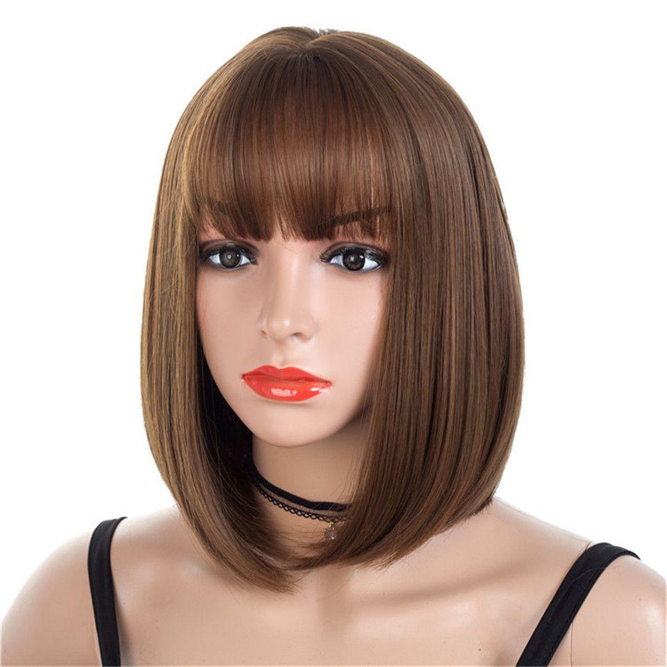 갈색 짧은 가발 밥 스타일 스트레이트 합성 검은 여자 가발 앞머리 12 인치 부드러운 머리 금발 가발