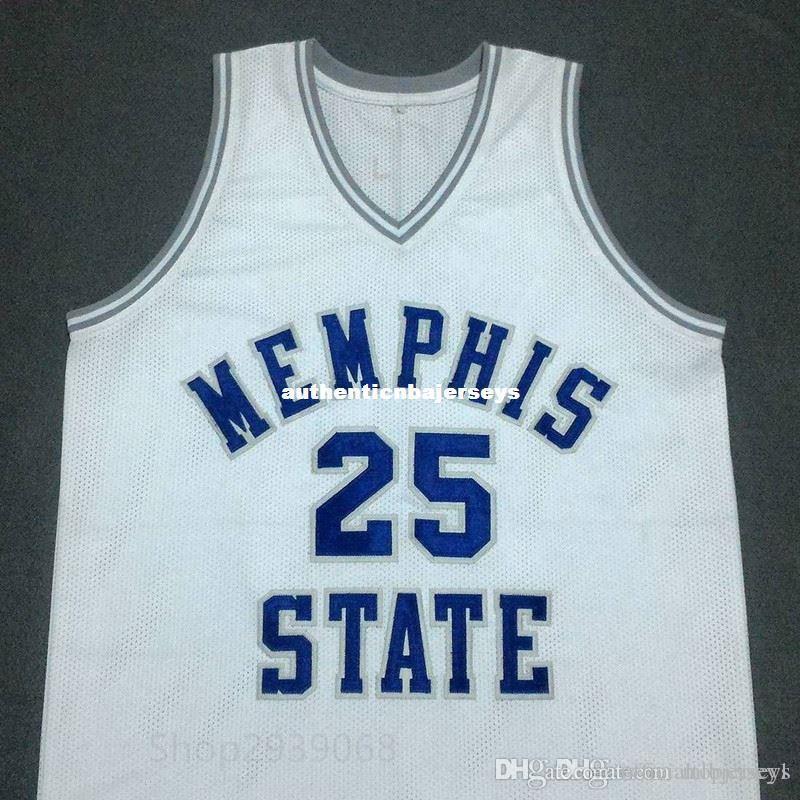 personalizado PENNY barato Hardaway Estado Memphis Branco Basketball Jersey Bordado costurado Personalizar qualquer tamanho e nome