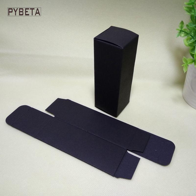 100pcs- 4.8*4.8*14.5cm Blank Black Paper Packaging Box for 100ml Dropper Bottle Essential Oil Sprays sample valve tubes