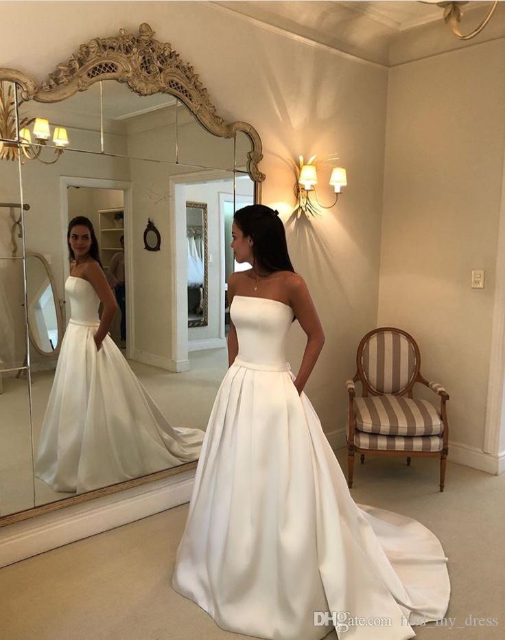 Modern Simple Princess Sweep Train Sash Bow Strapless Custom White Satin A Line Wedding Dress with Pockets New Bridal Gowns Detachable Skirt
