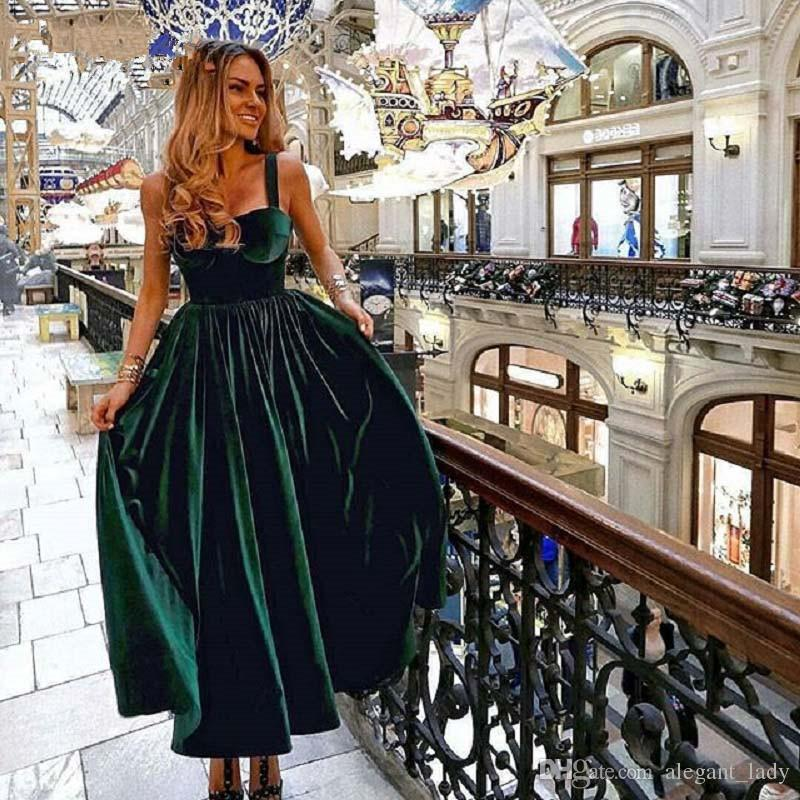 Vintage Tea Length Cocktail Dress Elegant 2019 Sweetheart Green Velvet Ladies Formal Party Gown Homecoming Dresses