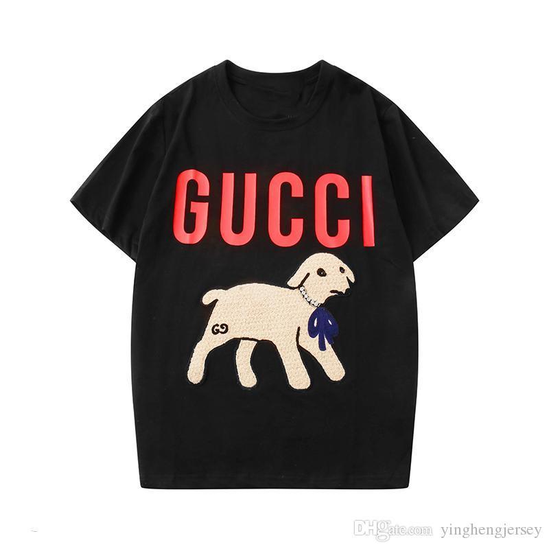 2020 primavera / estate lettera paillettes T-shirt ragazza agnello ricamata maglietta un agnello casuale a maniche corte colletto rotondo camicetta App88