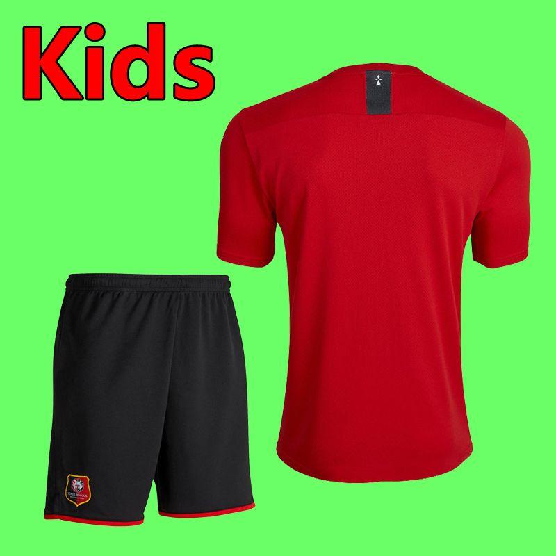 19 20 Ligue 1 Stade Rennais Soccer Jersey Kids Kit Sets Socks 2019 2020 Stade Rennais Boys Youth Home Желтая футбольная футболка Униформа
