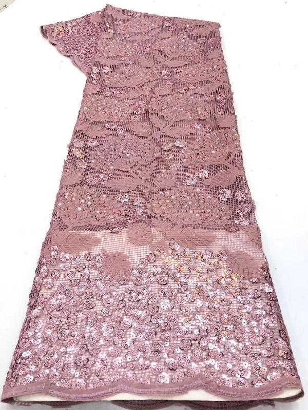 Rose Gold nigeriano Lantejoulas Lace Tecidos Idian nigeriano Lace tecidos bordados Africano Tulle Francês Materiais para as Mulheres