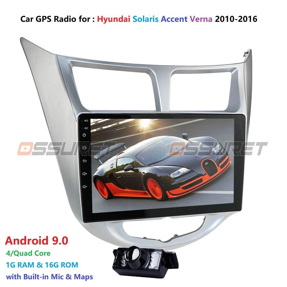 Hiçbir dvd araba dvd din Solaris Accent Verna 2010-2016 Araba Radyo Multimedya Video Player Navigasyon GPS, Android 9.0 2DIN 2 için 9 inç