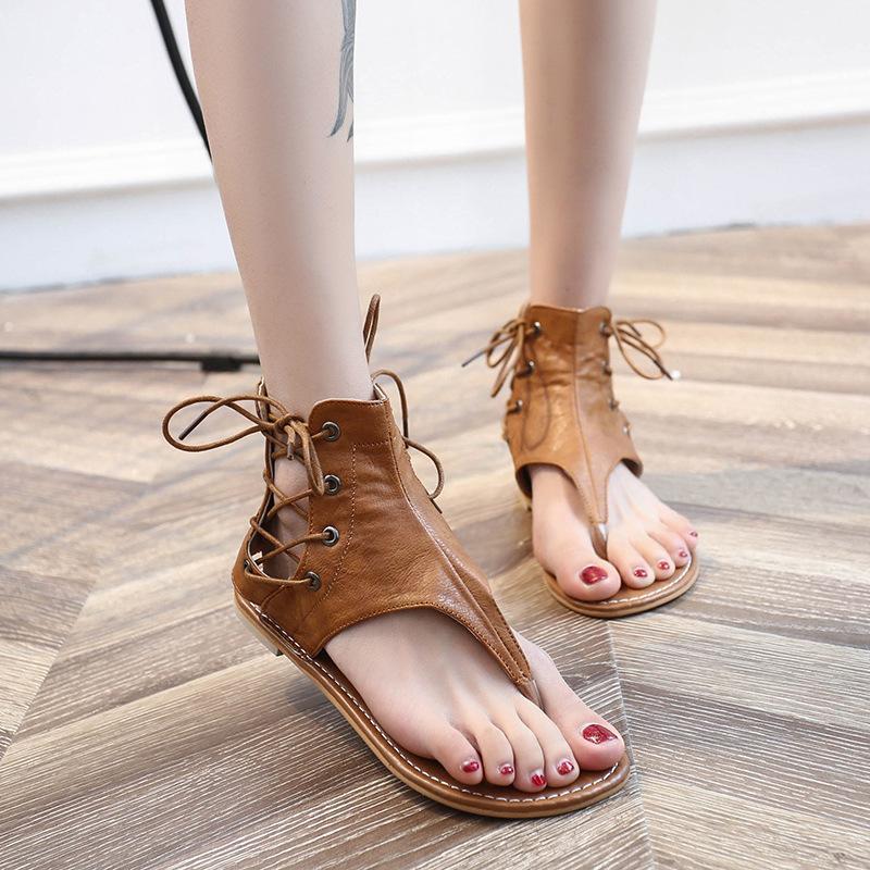 Grandi dimensioni SCARPE DONNA 2019 nuovo stile di estate Fashion Low tallone piano Split Toe Sandali Lace-up