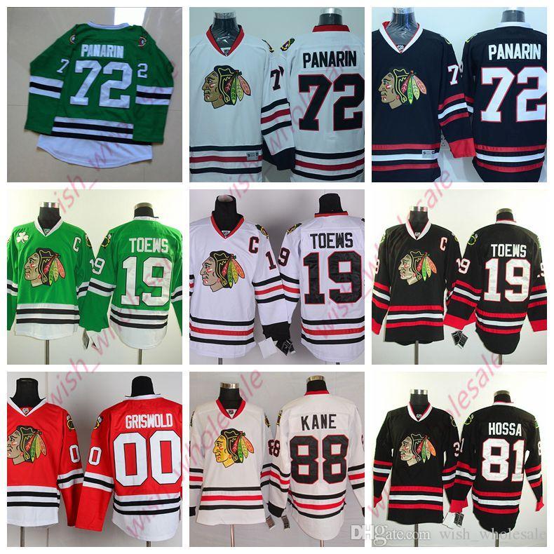 Man pas cher Chicago Blackhawks Jonathan Toews Jersey Patrick Kane Artemi Panarin Cousu de haute qualité Hockey Jersey Rouge Vert Blanc