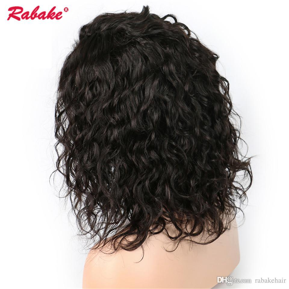 Natural Wave Lace Front Wigs Rabake Brazilian Virgin Remy 4x4 Top lace Closure Short Human Hair Wigs Cap for Black Women Free Shipping