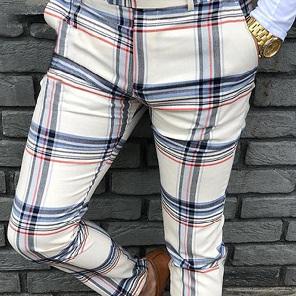 Compre Casual Pantalones De Traje De Tela Escocesa De Los Hombres 2020 Otono Hombres A Estrenar De Vestir Para Pantalones Pantalones De Los Hombres De Negocios Del Ajustado De Los Pantalones Ropa