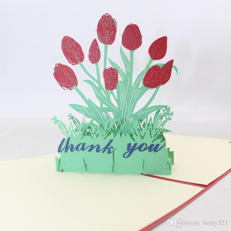 Phenomenal 3D Handmade Birthday Thank You Greeting Cards Fashion Hollow Tulip Funny Birthday Cards Online Fluifree Goldxyz
