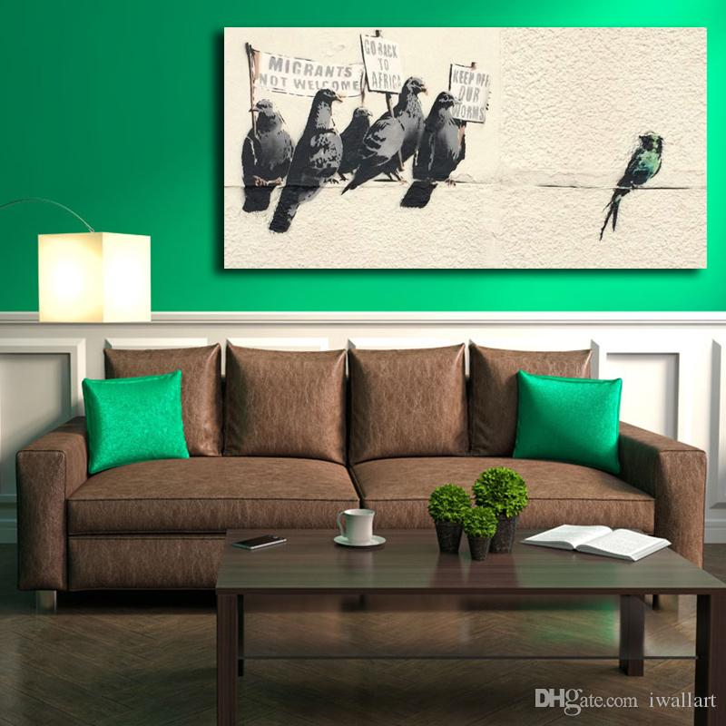 Banksy Street Graffiti Protesting Birds Canvas Painting Stampa Living Room Home Decor Modern Wall Art Pittura ad olio Poster Artwork