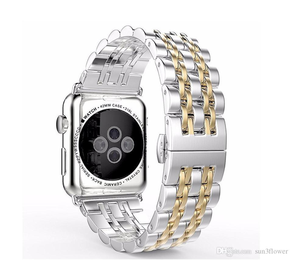 애플 시계 밴드 42mm / 38mm 링크 팔찌 시계 용 고급 스테인레스 스틸 스트랩 iWatch 3/2/1 금속 손목띠