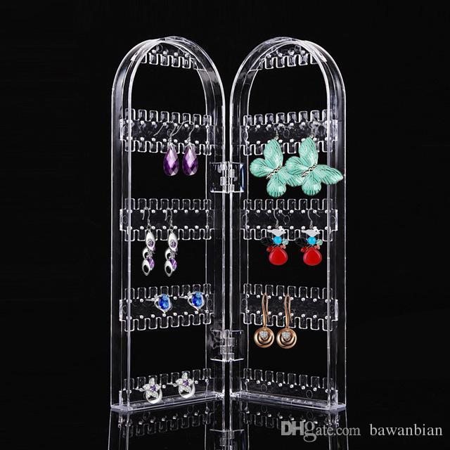 Produkt Schmuck Display Veranstalter Transparent Ohrring Halter Ohrring Display Zwei Türen zeigen Regal Schönheit Gesundheit Werkzeug
