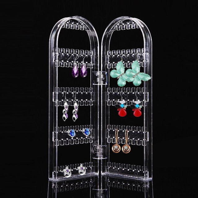 Produto Jóias Display Organizador Transparente Brinco Titular Display Brinco Duas Portas Mostrando Prateleira Beleza Saúde Ferramenta