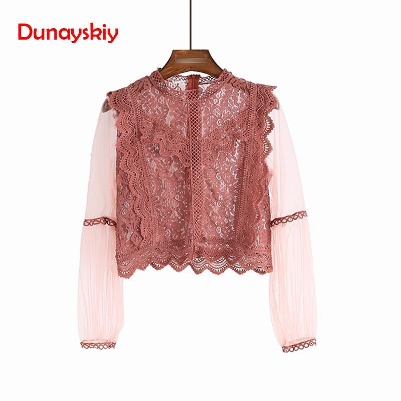New Arrival Ladies Mesh Lace Hook Flower Lantern Sleeve Loose Retro 2019 Short Pullover Blouse Shirts Women Fashion Cute Voile