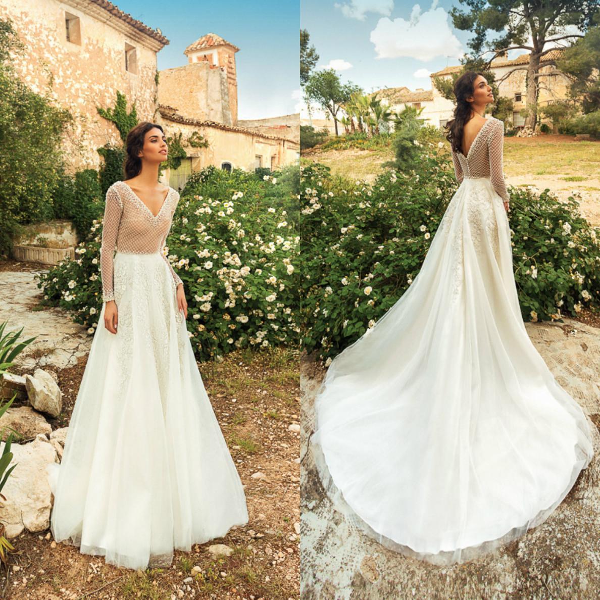 New Fashion A linha de vestidos de casamento Pescoço V manga comprida ver através Lace Applique Illusion vestidos de noiva sem encosto Trem da varredura vestido de casamento