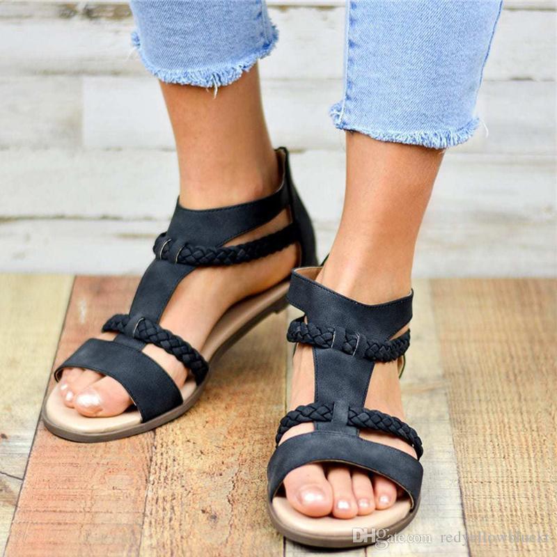 2019 Été Sandales Femmes Chaussures Gladiateur De Mode Tissage Boucle Strap Casual Flats Dames Chaussures Plus La Taille 35-43