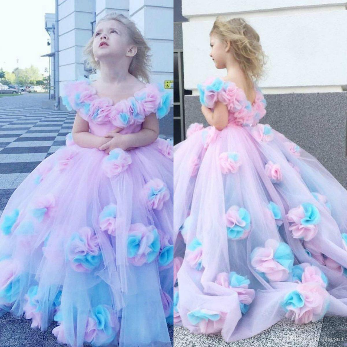 2020 Floral Ball Gown Flower Girl Dresses Ruffle Combined Colorful Hand Made Flower Girl Pageant Gowns Custom Made First Communion Gown