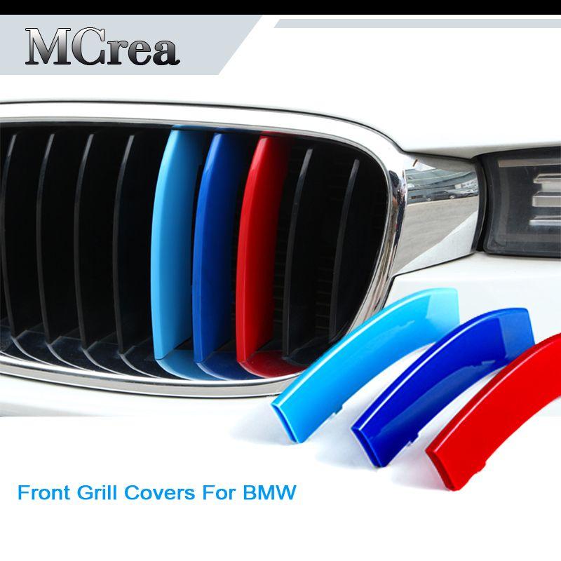 Pegatinas de emblema de coche para BMW X5 E53 E70 F15 G05 X6 E71 F16 X1 E84 F48 X3 G01 F25 X4 G02 F26 BMW M Accesorios Tiras de la parrilla delantera