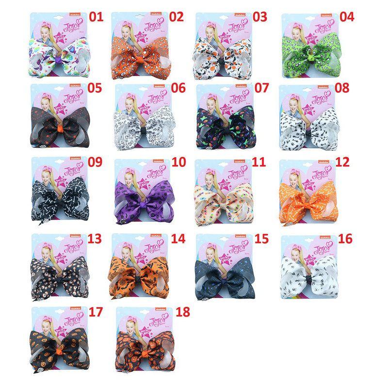 Cute 5 Inch Jojo Siwa Ribbon Bowknot Hair Clips With Card 18 styles Halloween Pumpkin Bones Baby Girl Hair Bows Party Hair Accessories