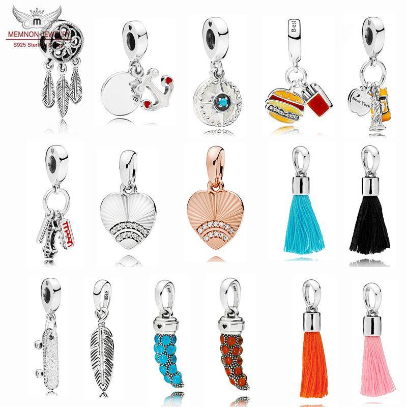 Nueva colección de verano 925 Sterling Silver Spiritual Dream Catcher Charms colgante de corazón cuentas para hacer joyas pulseras collares DIY