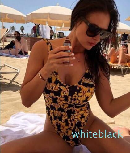 Kadınlar Seperated Bikini Tek Parça Mayolar Backless Seksi Retro Femme Plaj Wear için Klasik Desenler Mayo