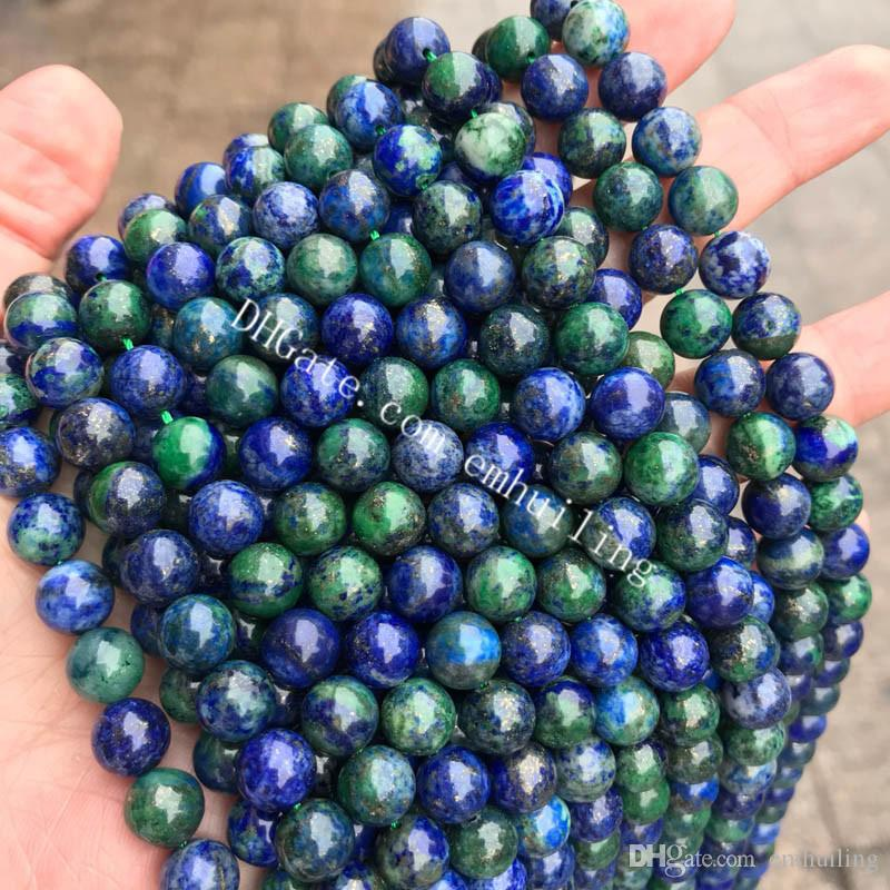 10 Strands Lapis in Chrysocolla Natural Gemstone Loose Beads 4-12mm Smooth Round Blue Green Azurite Crystal Stone Beads DIY Jewelry Findings