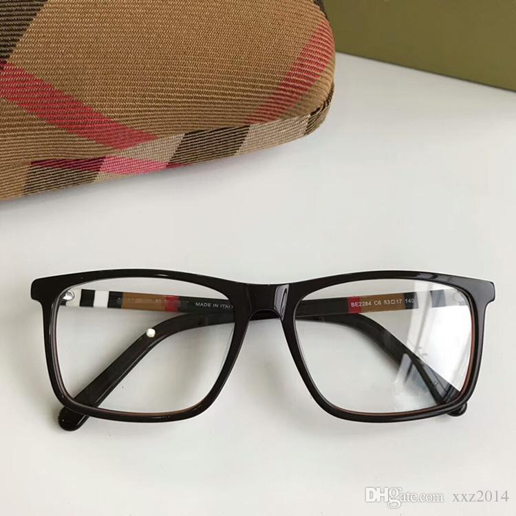 Montatura di occhiali rettangolare unisex concisa di nuova qualità BE2283 54-17-140 plaid designer per occhiali da vista custodia full-board in pura plancia