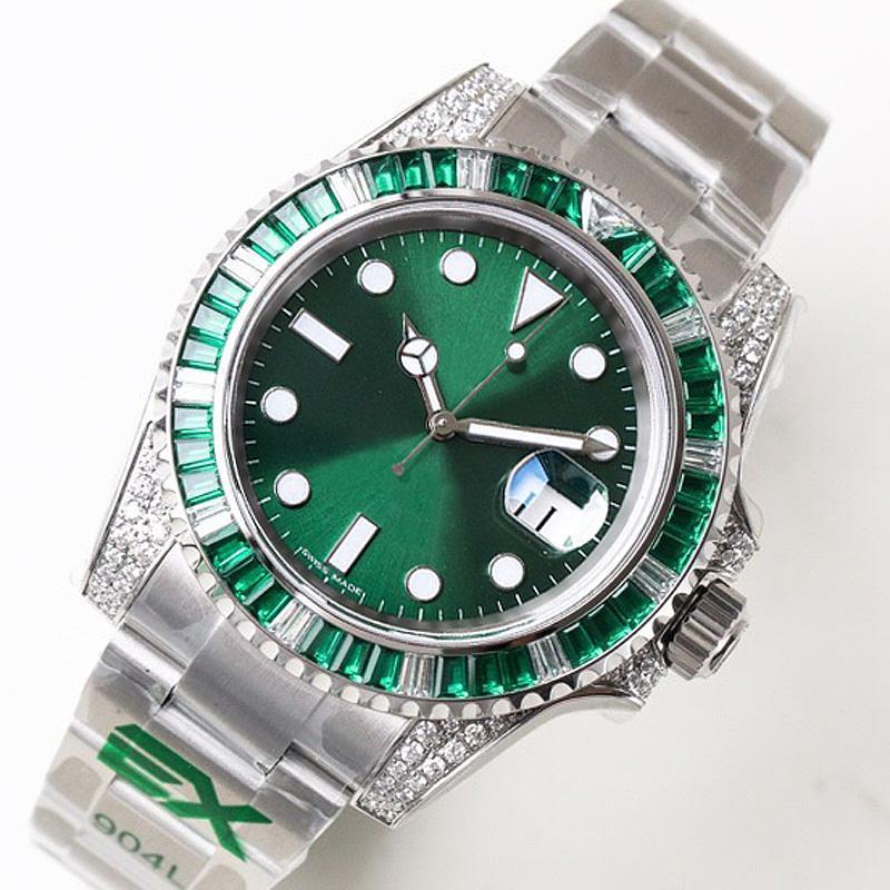 reloj de lujo movimiento totalmente automático caja de acero inoxidable 904L gema de color bisel del reloj para hombre verde de las letras fecha automática del reloj del diamante A244-2