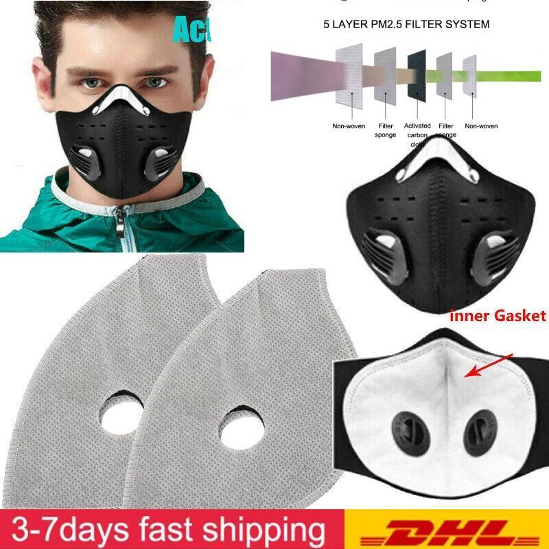 DHL gratuit Cyclisme Masques Filtre 5 couches Face Mask Filtre Pad Avec filtres au carbone masque respiration par la bouche moufles Insérer Sans masque