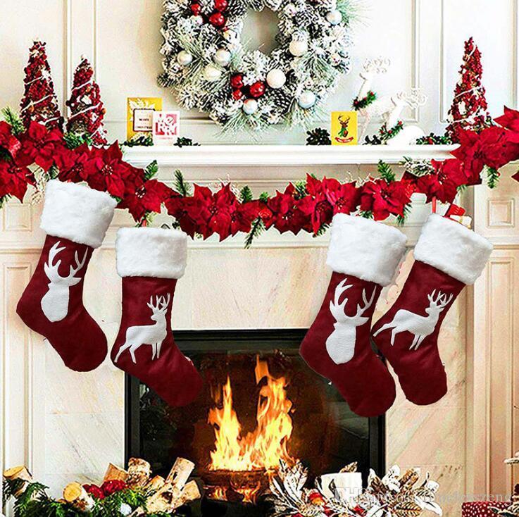 Noel Hediyesi Çanta Noel Stoklama Noel ağacı Süsleme Dekoratif Çocuk Şeker Çanta Hediye Çorap Yeni Yıl Prop Çorap Noel Süsleri