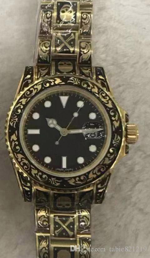 cráneo retro reloj del calendario esfera de color negro plegable botón de movimiento automático + free