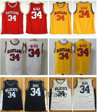 College 34 Len Bias Jersey Hombres Baloncesto Universidad 1985 Maryland Terps Jerseys Team Rojo Amarillo Blanco Visitante Camisas cosidas